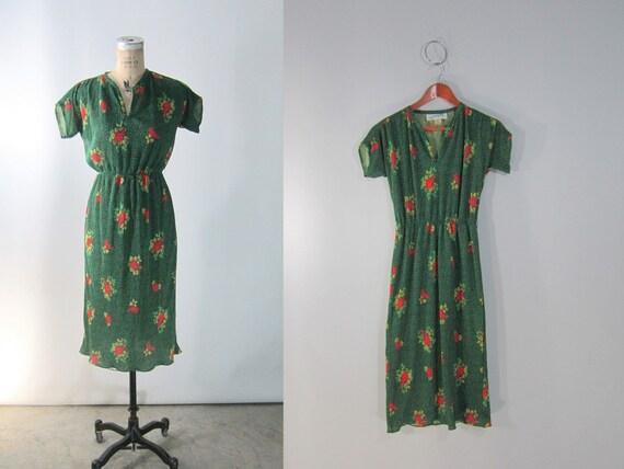 vtg 1980s // Green Floral Accordian Leslie Fay Dress // Medium