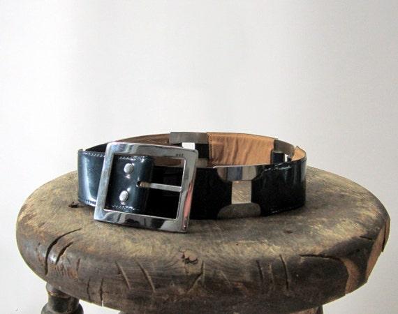 vtg 1960s Belt // Vera Blue Patent Buckle // Small