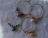 Mixed color Freshwater Pearl Wine charms with Swarovski crystals
