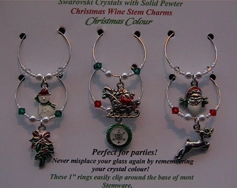 Christmas Colour Wine Charms - enamel Christmas wine charms and Swarovski crystals