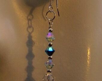 Teal Dreams - sparkling  Azure AB, meridian AB, Clear Swarovski crystal earrings in silver