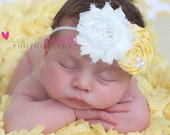 Shabby Chic Rosette and Yellow Fabric Flower with Pearls on a White Skinny Headband (Newborn, Toddler, Child)