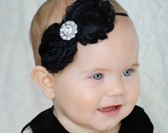 Shabby Black  Chiffon Rosettes with  Fancy Rhinestone Center on a Skinny Black Headband  (Newborn, Toddler, Child)