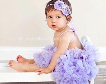 Shabby Lavender  Chiffon Rosettes with  Fancy Rhinestone Center on a Skinny Lavender Headband  (Newborn, Toddler, Child)