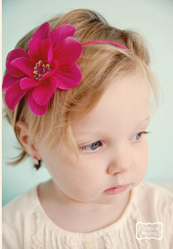 Adorable Fuchsia Flower with Sequins on an Skinny Fuchsia Headband  (Newborn, Toddler, Child)