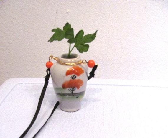 Wearable Vase / Vintage Miniature Japanese Vase Necklace