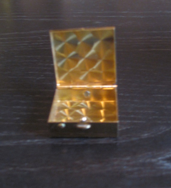 Antique Brass Portable Ashtray  / Tiny Gold Ladies' Box with Handle
