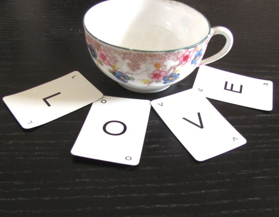 Small Vintage Letter Game Cards / Custom Word, Phrase, Quote up to 51 Cards