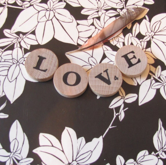 Reserved for Sharon: Rare Round Letter Game Tiles / Custom Word Phrase or Name / 30 Tiles