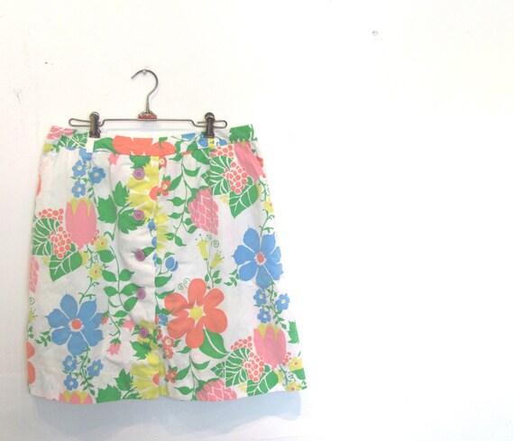 Pastel Rainbow Aline Mini Skirt / Plus Size Mod Button Front Scooter Skirt