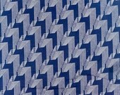 1 Yard of Vintage 1950 36 Inch Wide Mid Century Modern Design Cotton Fabric, Blue and White