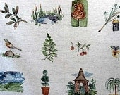 2 Yards Vintage Home Decor Cotton Fabric, Sunday Stroll, Park and Nature Scenes on Oatmeal Bkground