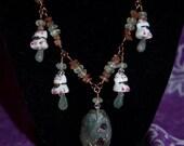 Japanese Lucky Cat Necklace with Labradorite Aquamarine and Sunstone