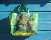 Green Dog Feed Bag Recycled and Upcycled into a Shopping Market Tote Bag