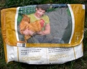 Yellow Chicken Feed Bag Recycled and Upcycled into a Messenger Shopping Market Tote Bag or Purse