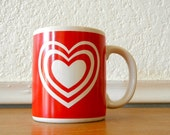 Valentine Love Mug, Red with White Hearts Coffee Cup, Valentines Day Gift