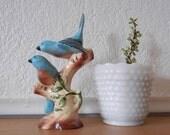 2 Blue Birds on a branch- Ceramic Sculpture, California Pottery