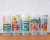 Libbey California Glasses, Tall Frosted Souvenir Ice Tea Glasses, Barware, Set of 5