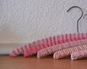 Vintage Wood Hangers, Crochet wrapped, Pink, Set of 5.