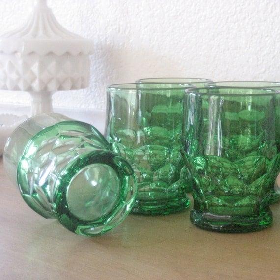 Vintage Green Short Glasses, Set of 6