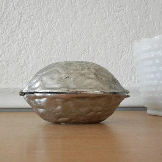 Vintage Silver Nutcracker, Large Walnut Shaped Nutcracker
