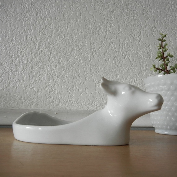 Vintage Apilco Cow, White Porcelain Serving Dish, Rare