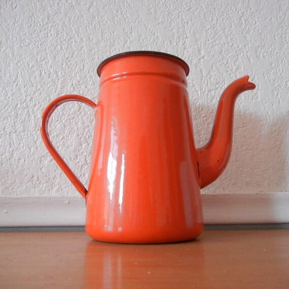 Orange Enamel Teapot, Pitcher, Unique Vase
