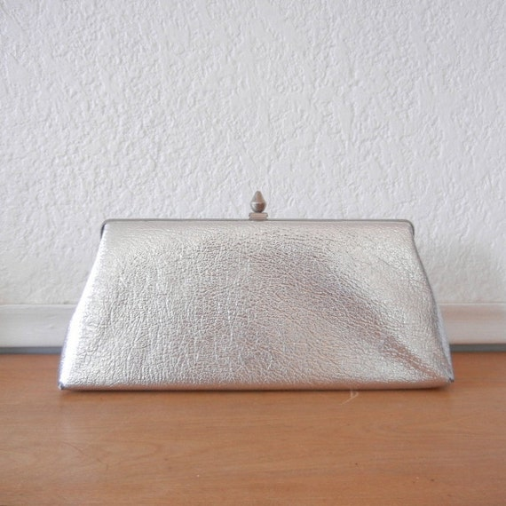 Vintage Silver Clutch, 1960s Mid Century, Metallic Faux Leather