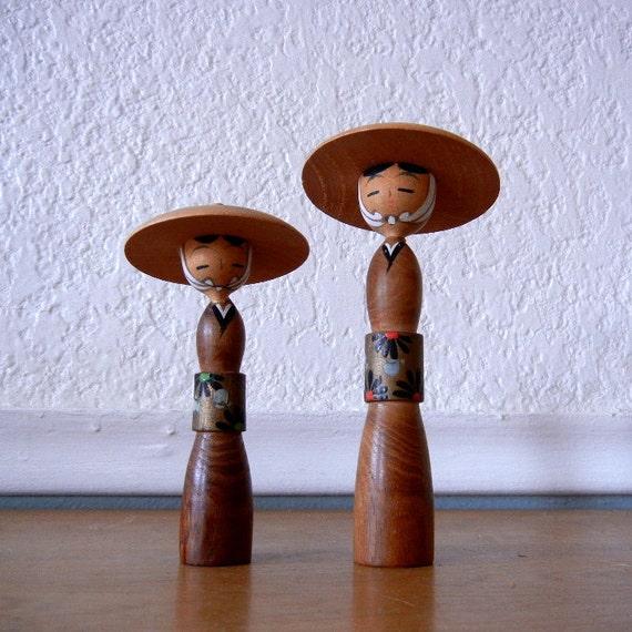 Vintage Kokeshi Figures, 2 Japanese Wooden Dolls