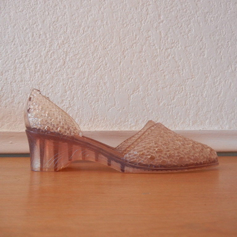 vintage clear jelly shoes with wedge heel by nellsvintagehouse