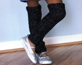 Madeline Sparkle Leg Warmers, Thigh length, hand crochet