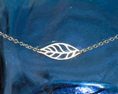 Sideways Silver Leaf Necklace