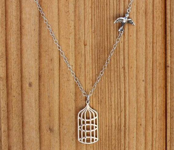 She is Free-Silver Bird Cage Charity Necklace