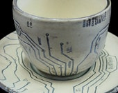 Circuit Board and Topography Cup and Saucer Set