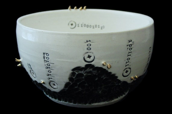 Industrial Cocoon Porcelain Bowl with 22k Gold Spikes