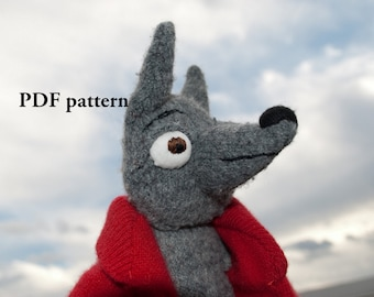 Wolf  Sewing Pattern PDF file for stuffed wolf and sweater