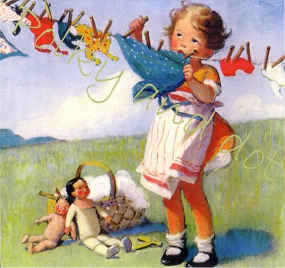 Vintage illustration Laundry Day little girl  digital file