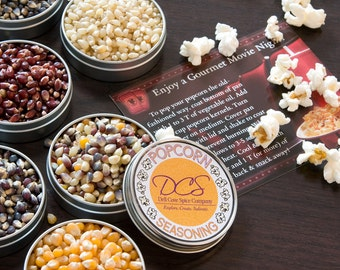 Popcorn gift set - deluxe popcorn and popcorn seasonings gift assortment - set of 16