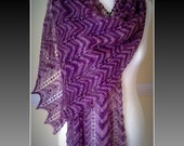 Handknitted Purple / Violet Merino Lace Stole