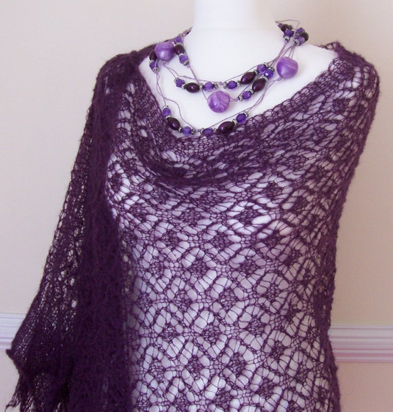 Over The Hills  Deep Purple Lace Stole knitted with Mohair Yarn Size X / XL