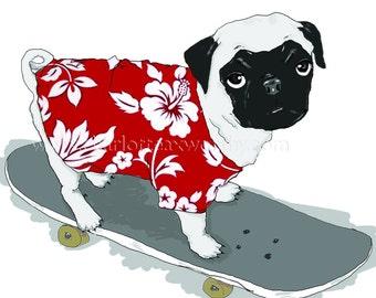 PUG on skateboard - greeting card