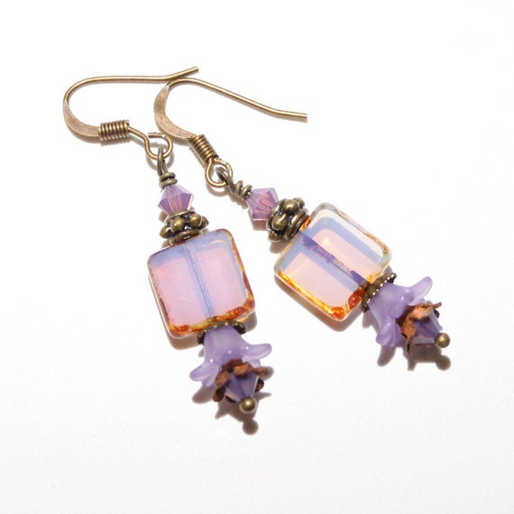 Purple Earrings, Vintage Style