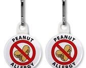 PEANUT ALLERGY Medical Alert Pair of Zipper Pull Charms (Choose Size and Backing Color)
