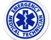 EMT Emergency Medical Technician Fire Rescue White Rim Sew-on Patch (Choose Size)