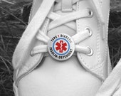 Type 1 Diabetes Diabetic Insulin Dependent  Alert Medical Information Pair of Shoe Tags