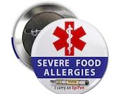 Medical Alert Severe Food Allergy EpiPen Pin Back Button Badge
