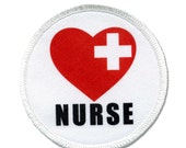 NURSE Red Heart Love Cross Heroes White Sew-on Patch (Choose Size)