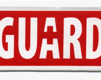 Red LIFEGUARD Rescue Ocean Swimming Pool Safety 2.5 x 5 inch Sew-on Patch (Choose Rim Color)