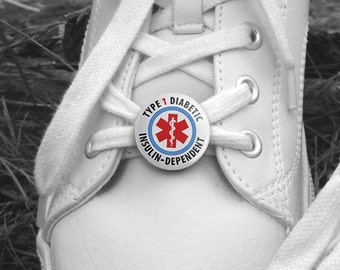 Type 1 Diabetic Insulin Dependent Medical Alert Pair of 1 inch Shoe Charm Tags