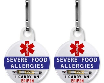Severe Food Allergies - I carry an EpiPen 2-Pack of Zipper Pull Charms (Choose Size and Backing Color)